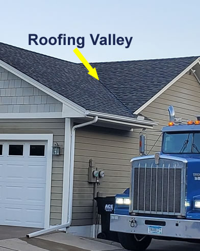 A Roofing valley On A Finished Roof