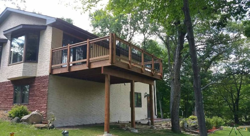 Brown Treated Deck Construction Project East Bethel MN