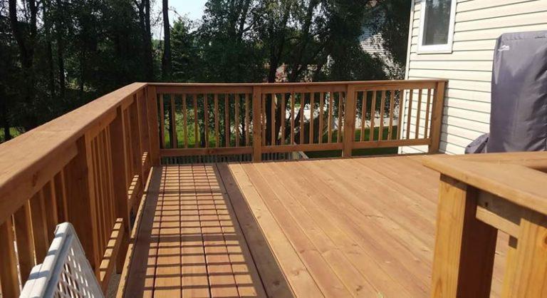 Brown Treated Deck Build In Blaine Minnesota